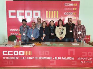 La Secretaria General de CCOO, Begoña Cortijo, junto a los miembros de la Comisión Ejecutiva elegida en el congreso del sindicato
